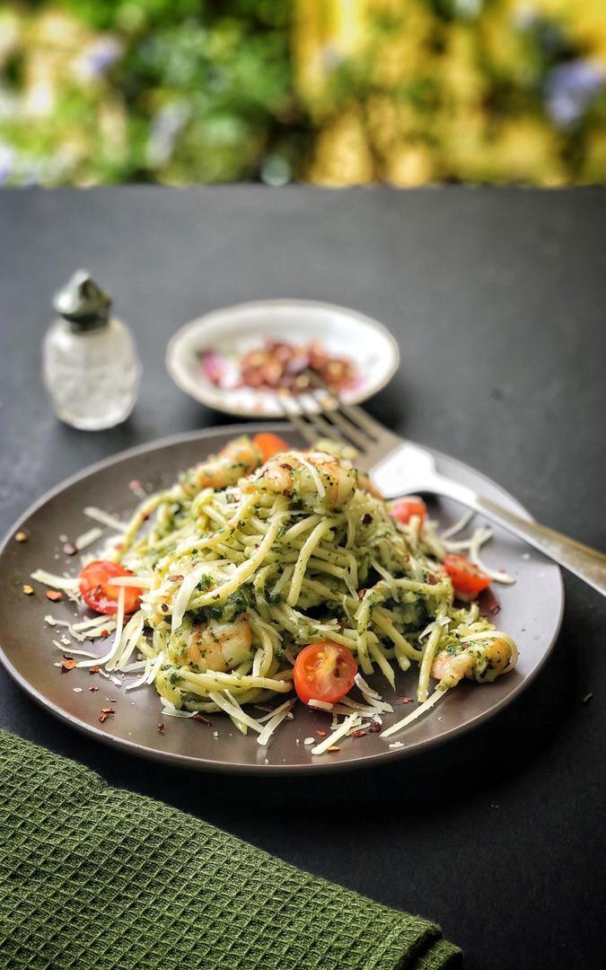 Spaghetti Pesto Berudang